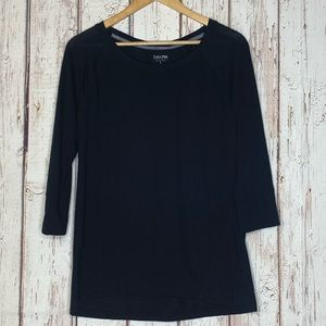 Black Calvin Klein quarter length sleeve large